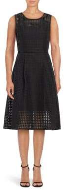 Ellen Tracy Illusion Windowpane Check Fit-&-Flare Dress