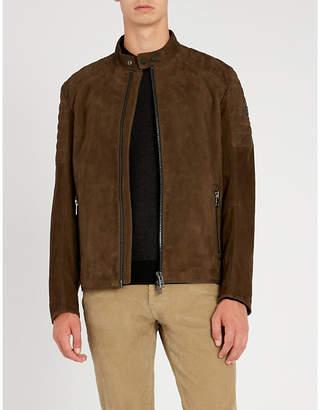 BOSS Quilted shoulder suede jacket