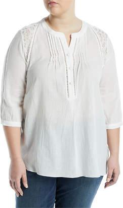 Kerrick Lace-Shoulder Button-Front Tunic, Plus Size