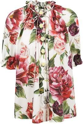 Dolce & Gabbana Floral Mandarin Collar Shirt