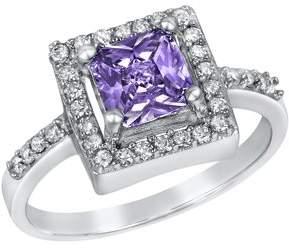ELYA Sterling Silver Purple Cushion-Cut Cubic Zirconia Halo Ring