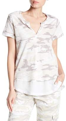 Sanctuary Camo Linen Mixed Media Tee
