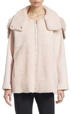 Emporio Armani Shearling Mixed Media Hooded Coat