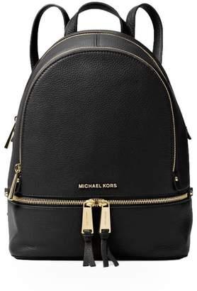 Michael Kors Rhea Zip Medium Black Leather Backpack