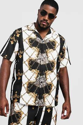 Big & Tall Baroque Print Revere Collar Shirt