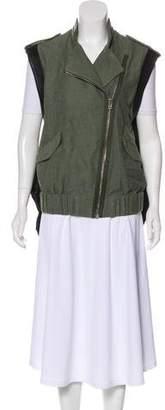 Alexander Wang Leather-Trimmed Zip Vest