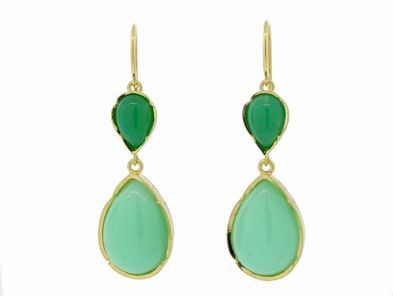 Irene Neuwirth Mint Crysoprase Teardrop Earrings - Yellow Gold