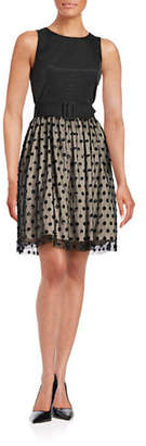 Eliza J Sequin Dot Fit-and-Flare Dress