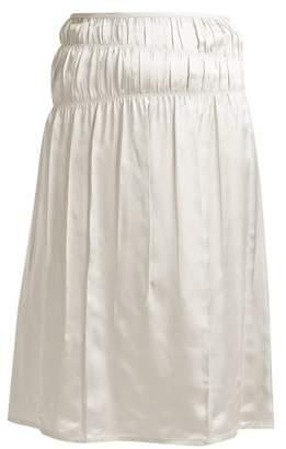 Helmut Lang Mid Rise Satin Slip Skirt - Womens - White