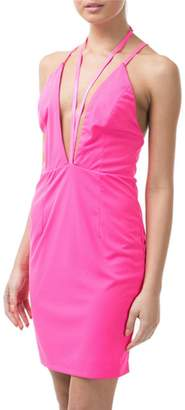 Caribbean Queen Neon-Pink V-Strappy Dress