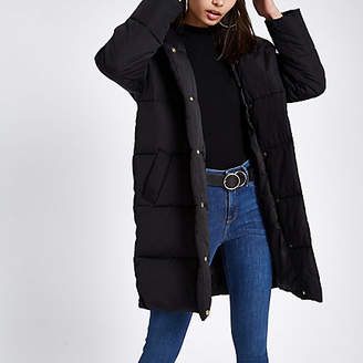 River Island Black asymmetric longline puffer jacket