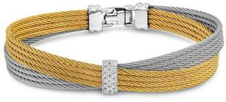Alor Two Tone Crisscross Cable Bracelet with Diamonds