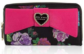 Betsey Johnson Large Bow Zip Around Wallet Black/Red