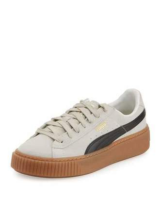 Puma Basket Suede Platform Creeper, Whisper White/Black $100 thestylecure.com