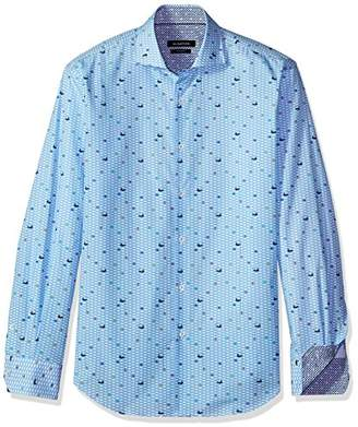 Bugatchi Men's Fitted Printed Fish Spread Collar Long Sleeve Shirt