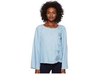 Vince Camuto Long Sleeve Side Lace-Up Tencel Blouse Women's Blouse