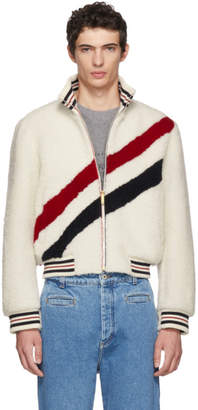 Thom Browne White Shearling Diagonal Stripe Funnel Neck Jacket
