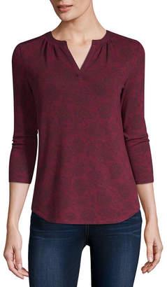 Liz Claiborne Womens Split Crew Neck 3/4 Sleeve T-Shirt Petite
