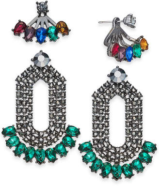 INC International Concepts I.N.C. Day & Night Hematite-Tone 2-Pc. Box Set Coordinated Multi-Stone Earring Jackets and Drop Earrings, Created for Macy's