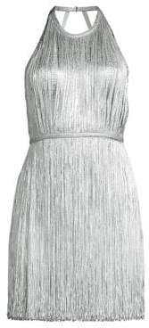 Herve Leger Foil Fringe Mini Dress