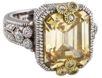 Judith Ripka Canary Crystal and White Sapphire Cocktail Ring