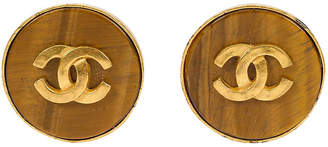 One Kings Lane Vintage Chanel Round Tiger's-Eye Logo Earrings - Vintage Lux