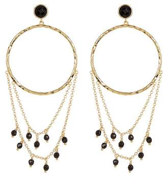 Gorjana Sol Stone Beaded Chain 38mm Hammered Hoop Earrings