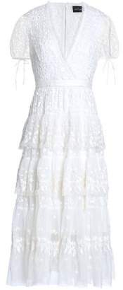 Needle & Thread Woman Wrap-effect Ruffle-trimmed Embroidered Tulle Midi Dress White Size 14