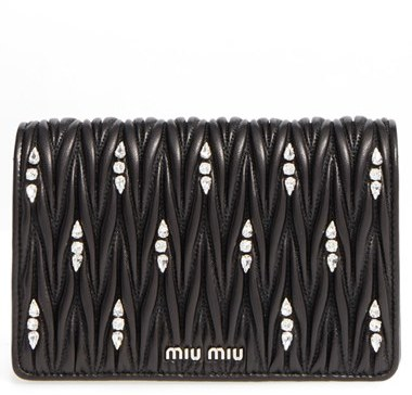 Miu Miu Miu Miu Matelasse Leather Wallet On A Chain - Black