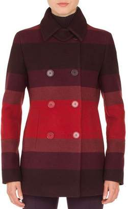 Akris Punto Double-Breasted Multicolor-Stripe Wool Coat
