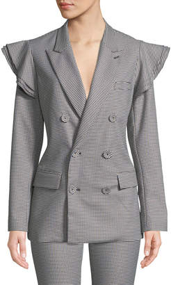 Tailored Houndstooth Ruffle Double-Breasted Blazer