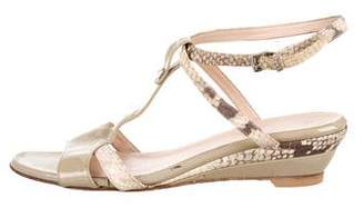 Aquatalia Embossed Wedge Sandals