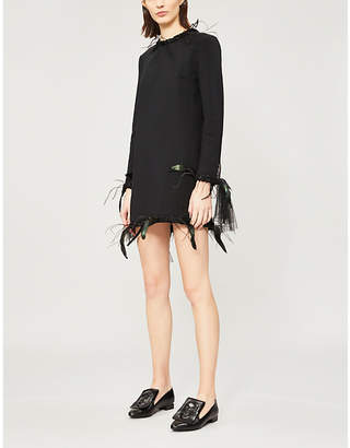 Thom Browne Feather and tulle-trimmed stretch-wool dress