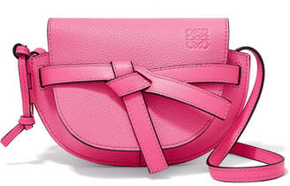 Loewe Gate Mini Textured-leather Shoulder Bag - Bright pink