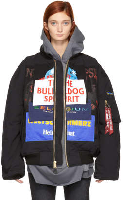 Vetements Reversible Black Alpha Industries Edition Oversized Bulldog Patchwork Bomber Jacket