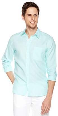 Isle Bay Linens Men's 100% Linen Long Sleeve Casual Woven Shirt Standard Fit Vertical