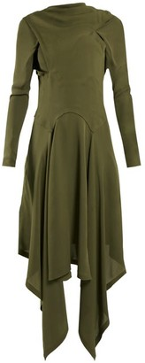 J.W.Anderson Draped Asymmetric High Neck Silk Dress - Womens - Khaki