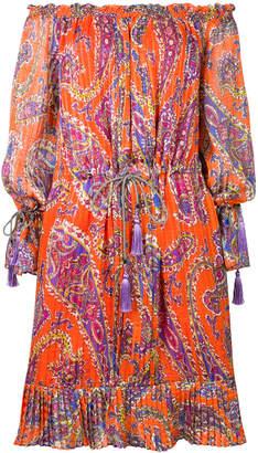Etro etno print off shoulder dress