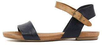 Django & Juliette New Jinnit Navy Tan Womens Shoes Casual Sandals Sandals Flat