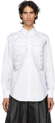 Thom Browne White Skeleton Point Collar Shirt