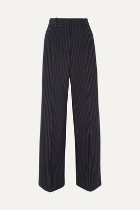 Stella McCartney Two-tone Pinstriped Wool Wide-leg Pants - Navy