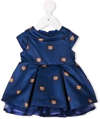Moschino Kids satin teddy logo print dress