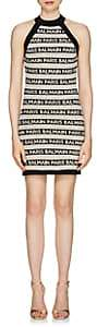Balmain Women's Logo-Striped Linen-Blend Sleeveless Dress - Black