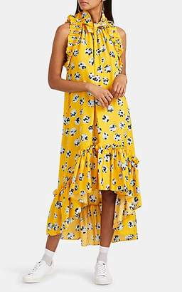 BROGGER Women's Ruffle-Trimmed Floral A-Line Dress - Yellow