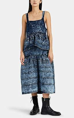 Proenza Schouler Women's Tiered Acid-Washed Denim Dress - Dk. Blue