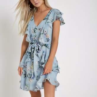 River Island Womens Petite light blue floral frill wrap tea dress