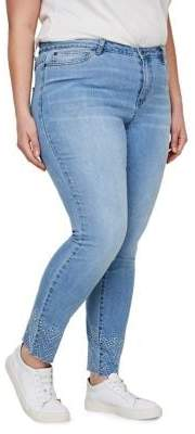 Junarose Plus Five Ankle Raw Edge Embroidered Normal Waist Slim Jeans