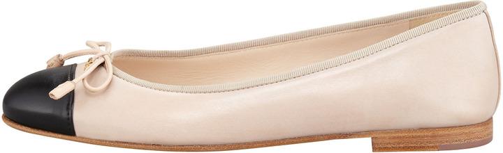 Prada Bicolor Leather Cap-Toe Ballerina Flat
