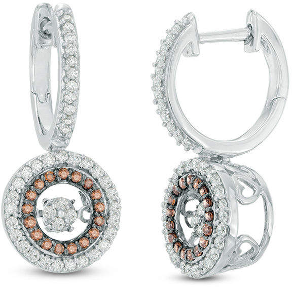 Zales Unstoppable Lovea 5/8 CT. T.W. Champagne and White Composite Diamond Frame Drop Earrings in Sterling Silver