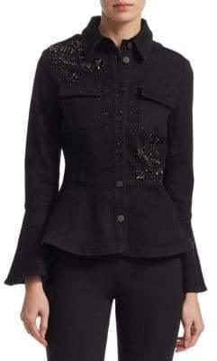 Scripted Embellished Bell-Sleeve Denim Jacket